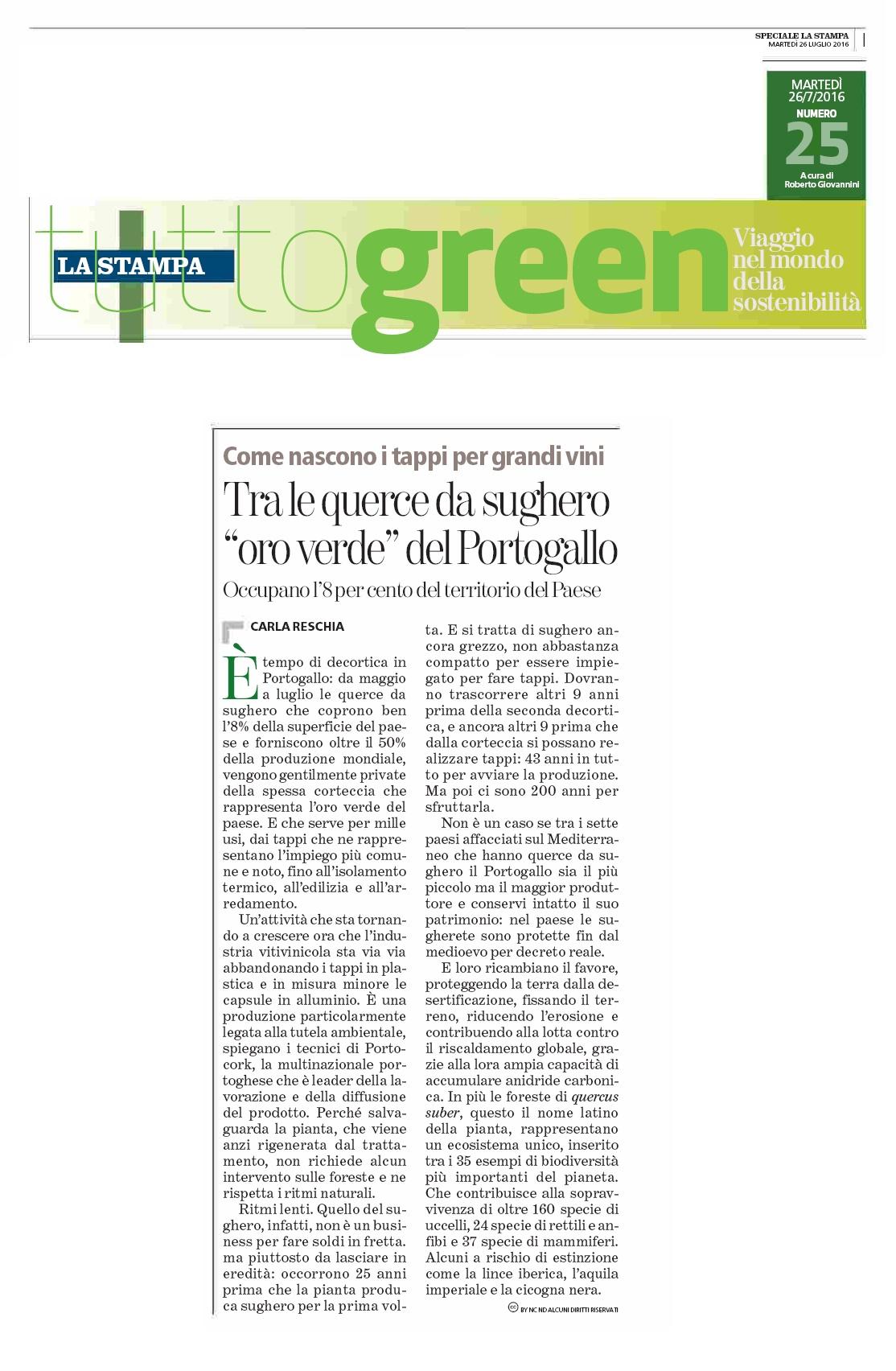 Rassegna stampa pk la stampa tuttogreen portocork italia for T green srl